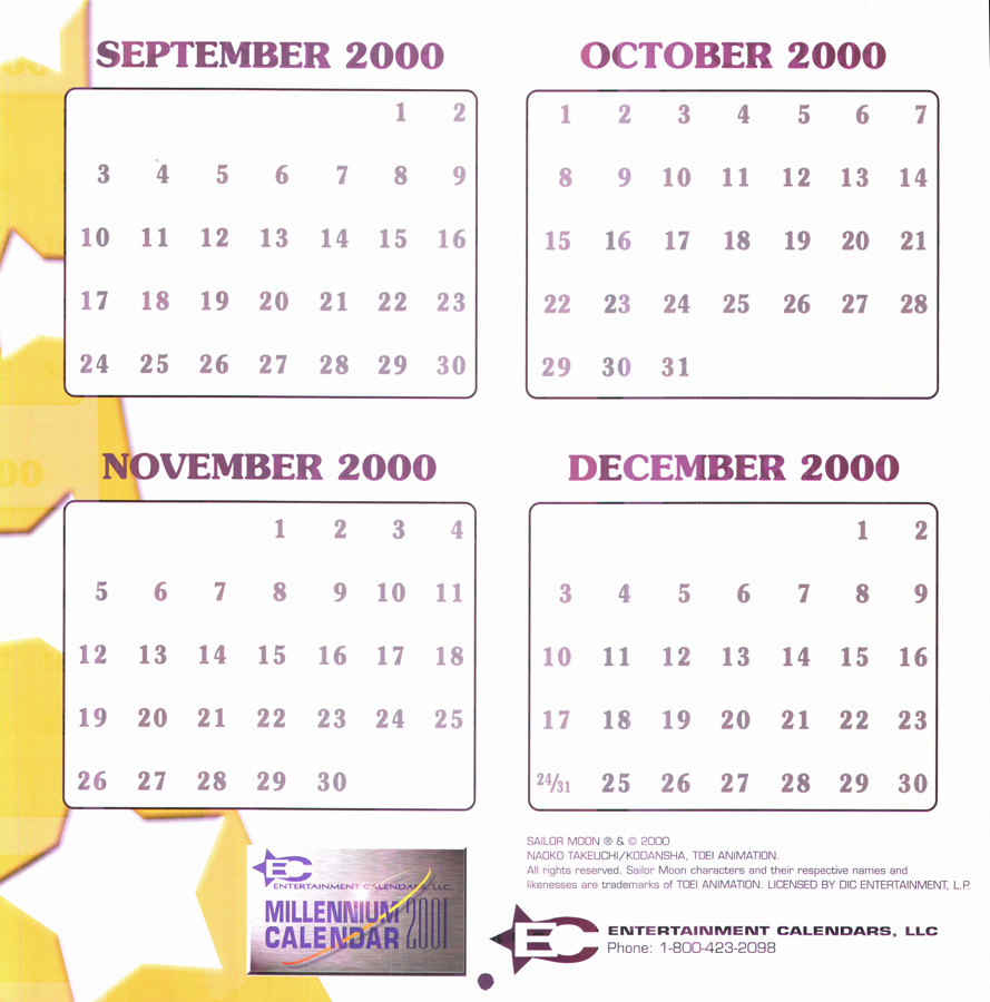 calendar for september 2001