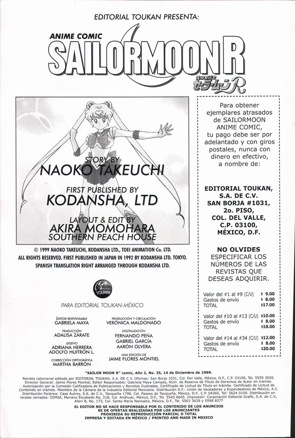 Editorial Toukan presents Anime Comic Sailormoon R Volume 35